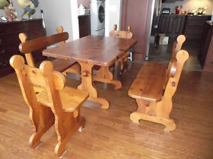 Table, love seat and sofa