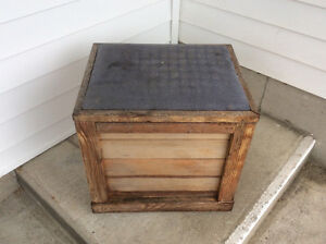 outdoor wooden single bench with storage