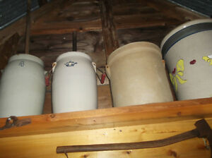 BUTTER CHURNS, CROCKS, JUGS ,