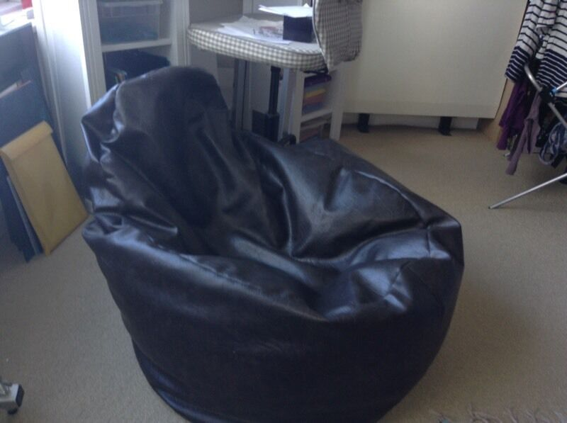 Faux leather brown beanbag