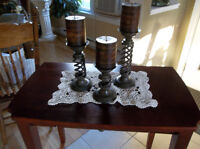 Three pieces metal candle holders