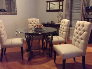 Glass top table & 4 Bishop chairs