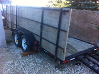 16' Flat Deck Heavy Duty Trailer with 4' Sides and Ramps