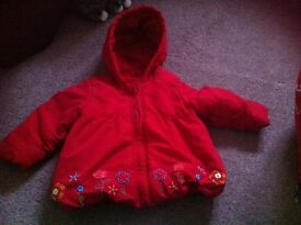 Baby girls red padded hooded coat 9-12 months