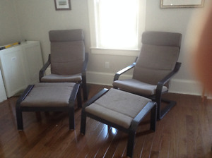 2 IKEA Poang Chairs w/Footstools LIKE NEW $150.00