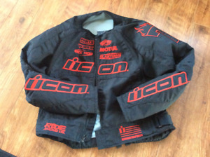 Ladies icon motorcycle jacket and helment