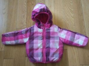 Baby Girl Pink Reversible Waterproof Winter Coat -Size 12 months
