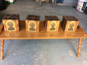 NEW WOOD CANDLE HOLDERS FOR DECORS ( STAGING)