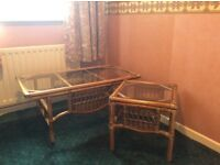 Rattan cane coffee table with matching square end/lamp table