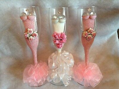 Set Of Three Bridesmaid Champagne Wedding Flutes, Ideal Wedding Gift](Bridesmaid Champagne Flutes)