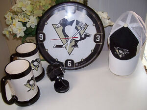 NHL Pittsburgh Penguins Clock, Cap, and Malkin Collectable Set