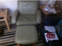 Leather ivory recliner chair