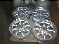 Classic mini alloy wheels good condition would benefit a referb