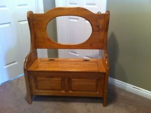 Solid Pine Bench with Storage and Oval Insert Space