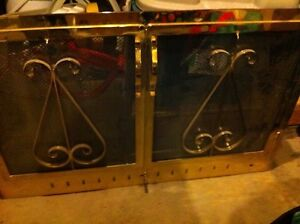 Fire screen with glass doors,heavy brass,2504930267,100$