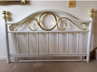 Stylish Metal White and Gold Headboard for double bed