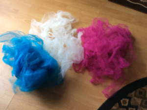 WEDDING DECORS - TULLE MATERIAL ( BLUE/PINK/WHITE)