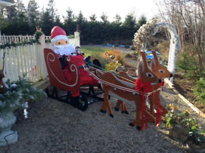 Wooden Sleigh, reindeer, Santa and a bag of toys!