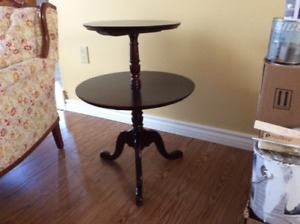 2 tier wooden table.