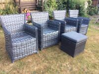 Rattan chairs and foot stool