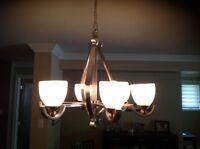 Brushed nickel 6 light chandelier.
