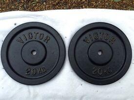 2 x 20kg Victor Standard Cast Iron Weights