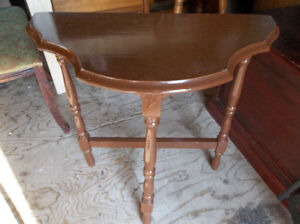 Vintage solid wood half moon table