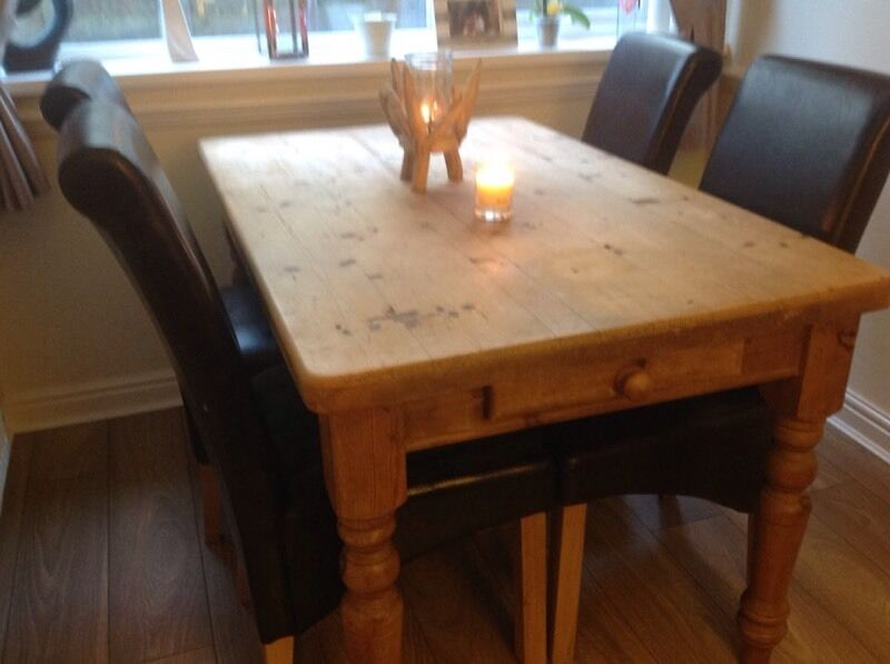 Pine Kitchen Dining Room Table And 4 High Back Brown Chairs In Hoghton La