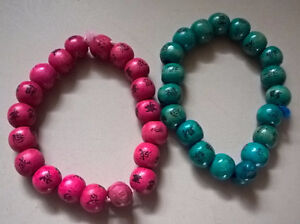 Chinese Characters Bracelets Wooden Bead Bracelets Pink & Teal