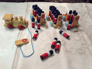 Vintage collectible toy soldier pull train