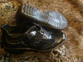 Women's AEROS shoes 4 new black wedge shiny leather