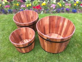 Set of 3 Acacia Hardwood Garden Barrel Planters - Amazing Value At Only £49.95