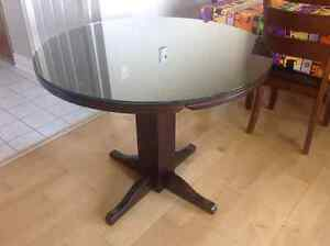 "38"" Dark Brown Cherry Table with Glass Top London Ontario image 3"