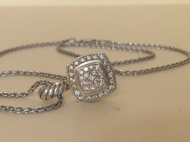 David Yurman Ss 925/14k Petite Albion Pave Diamond Enhancer Pendant With Chain