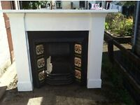 Beautiful Victorian cast iron fireplace with surround and hearth