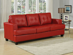 Red Bonded Leather Couch St. John's Newfoundland image 4