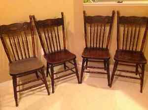 Set of 4 Antique press back spindle chairs 450.00 obo