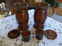Six pieces mosaic candle holders