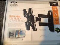 Triple arm full motion TV wall bracket