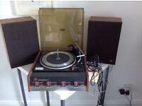 Vintage Elizabethan Garrard 2025T Turntable Record Player & Speakers