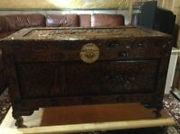 Chinese camphor hand carved large storage chest