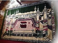 Mecca Mosque Hajj Persian Muslim Prayer Rug Arabic Religious Islamic Tapestry £40