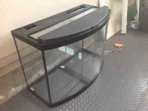 Bow fronted steel frame glass aquarium