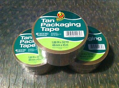 3 Rolls Tan Duck Packaging Packing Carton Shipping Tape 1.88 X 50 Yards
