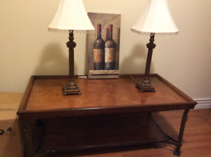 TABLE,  LAMPS AND PICTURE