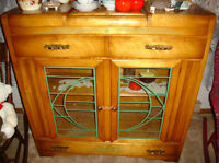 Antique Art Deco 1930-1940 China Cabinet Solid Maple