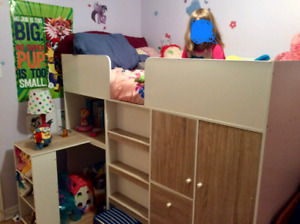 Twin loft bed with desk, wardrobe and drawers