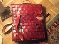 Genuine hand-crafted leather messenger bag