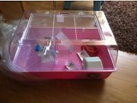 LARGE PINK HAMSTER CAGE WITH ACCESSORIES BRAND NEW