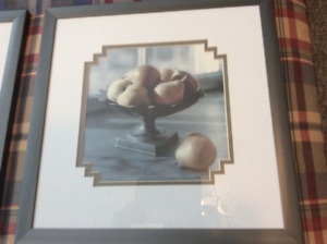 2 Beautiful Lijue Collection Prints Apples & Pears framed/matted